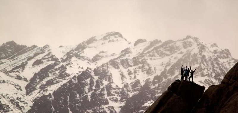 "Rock Climbing Photo: A team on the top of ""Leh'd Back"", April..."