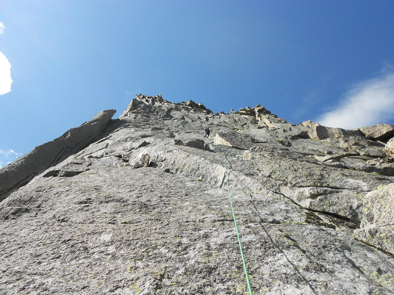 Rock Climbing Photo: Somewhere around pitch 4.  We stayed right of the ...