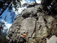Rock Climbing Photo: Place Your Bet follows the rope line above the cli...