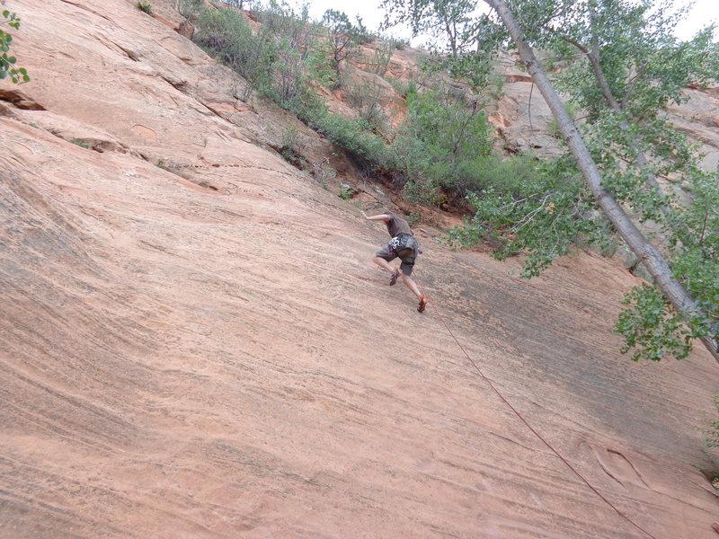 Rock Climbing Photo: The no hands lead climb challenge.