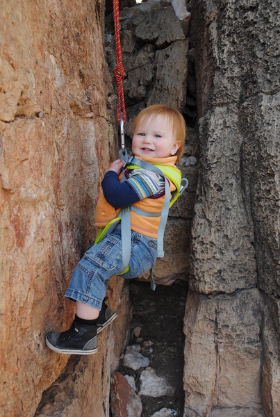 Rock Climbing Photo: Here's my boy, on hanging belay.