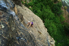 Rock Climbing Photo: Lauren at the first pitch's bolt anchor. First thr...