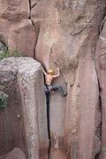 Rock Climbing Photo: the offwidth start