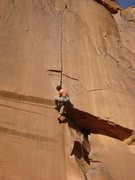 Rock Climbing Photo: Gunning for the rest. The pumpy finish looms above...