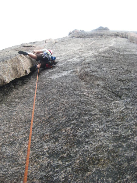 The run out start of Pear Buttress in Lumpy