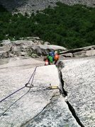 Rock Climbing Photo: The crux triangle roof awaits. Shimberg photo.