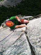 Rock Climbing Photo: Handjam laybackin'. Photo by Shimberg