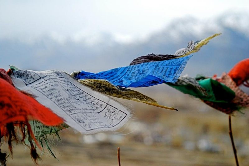 Prayer flags over Leh, India.  Himalayas in the background.