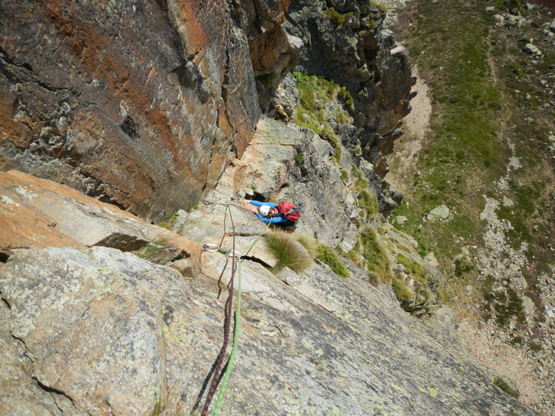 Climbing the 4th pitch of Voie Parat-Seigneur.
