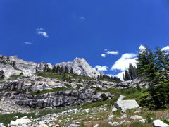 Rock Climbing Photo: Prism (center) on the approach with Saber Ridge be...