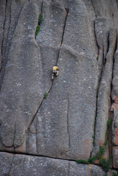 Ethan climbing Monkey Wrench at Valley Massif.