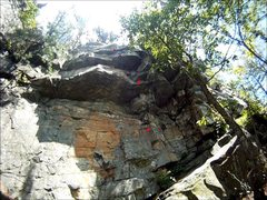 Rock Climbing Photo: Erocktica (Red dots are approximate bolt location)...