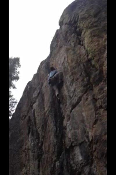 Rock Climbing Photo: Finishing up the crux, poor quality photo.