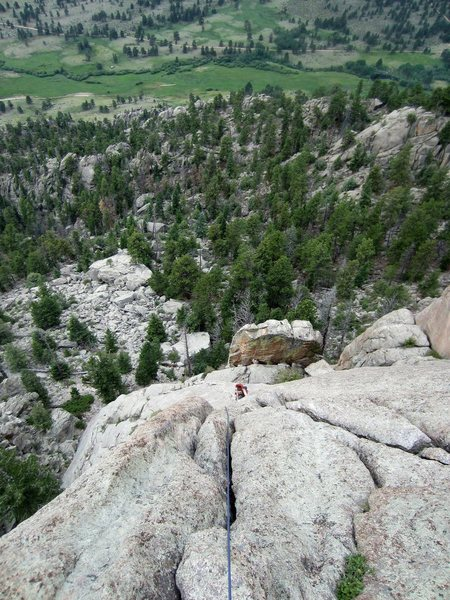 Looking down at the second pitch, after setting up a belay at the base of the pinnacle.