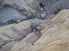 Rock Climbing Photo: Rico pulling the bulge on p1.