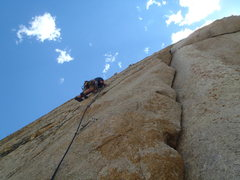 Rock Climbing Photo: Starting up p2.  The traverse out left is very thi...