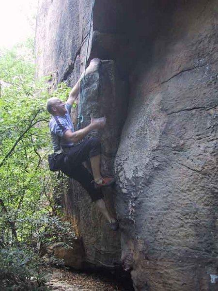 Paul works the burly start to BALANCE, Faith Boulder
