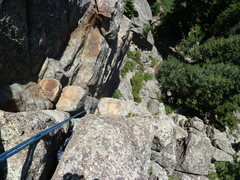 Rock Climbing Photo: Looking down the dihedral from the anchor.
