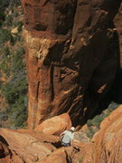 Rock Climbing Photo: The downclimb to the rap anchor isn't as steep as ...