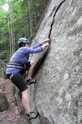 Rock Climbing Photo: lila on the flake's start (crux)