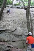Rock Climbing Photo: lila up top chris on belay