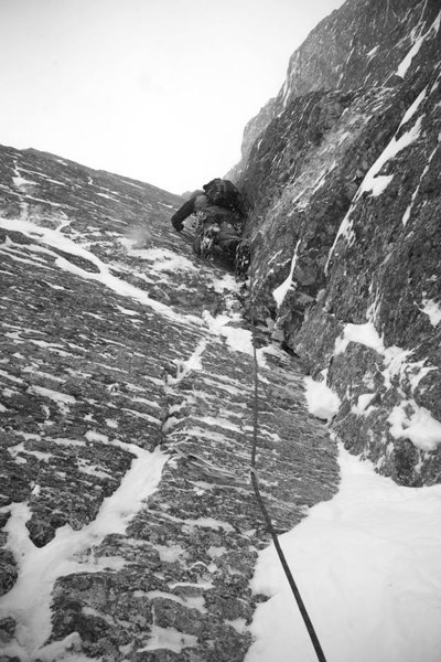 Chris Erickson leading the second pitch on a stormy, cold December day.