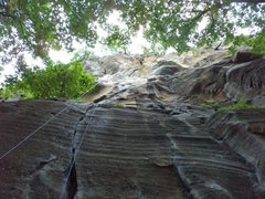 Rock Climbing Photo: Full route top roped from the top of the 5.10c ext...