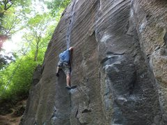 Rock Climbing Photo: Working the first crux section right at the flare.