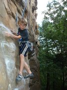 Rock Climbing Photo: Rhys Schreck (age 9) negotiating the beginning mov...