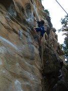 Rock Climbing Photo: Rhys Schreck (age 9) cruising Red Eye.