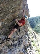 Rock Climbing Photo: George begins the crux.  It might be a bit stiff f...