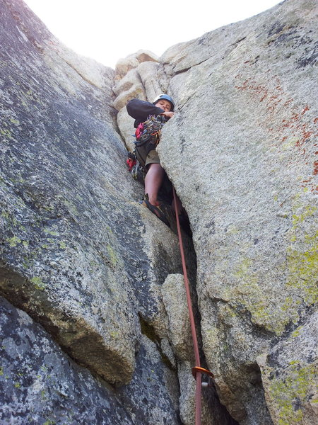 Jake starting up the 5.9 variation on his first multipitch lead.