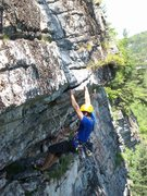 Rock Climbing Photo: The piton under the roof looks a little sketchy, I...