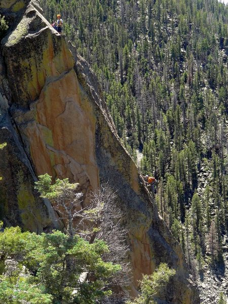"""Climbers on the """"money pitch"""" of BMPM. July 2013."""