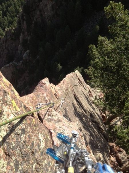 Rock Climbing Photo: Looking down the arete of the 5th pitch.