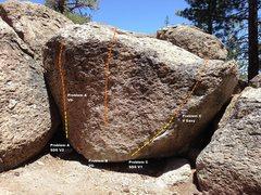 Rock Climbing Photo: 5th Boulder West Face Topo
