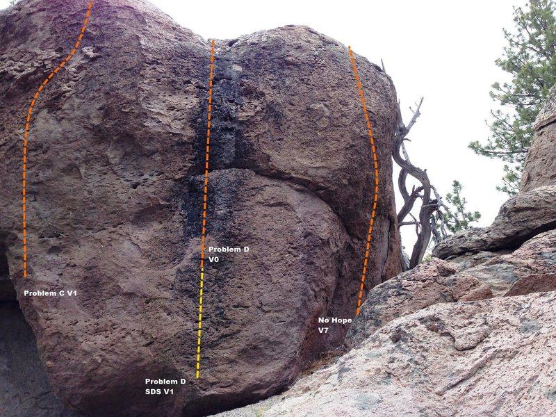 No Hope Boulder Right Topo