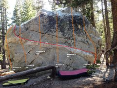 Rock Climbing Photo: Dog Boulder North Face Topo