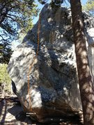 Rock Climbing Photo: Dog Boulder North West Face Left Topo