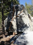 Rock Climbing Photo: Dog Boulder North West Face Right Topo