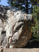 Rock Climbing Photo: Dog Boulder South Face Topo