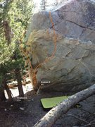Rock Climbing Photo: Dog Boulder North East Arete Topo