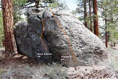 Rock Climbing Photo: Warm Up Boulder West Face Right Topo