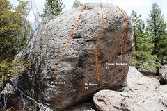 Rock Climbing Photo: The Road Boulder South East Face Left Topo
