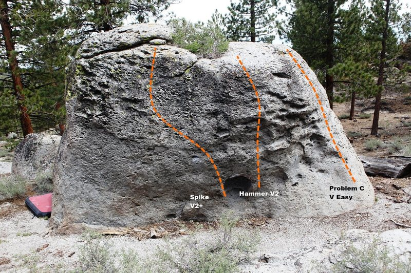 Dragon Boulder West Face Topo