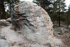 Rock Climbing Photo: Dragon Boulder South West Face Topo