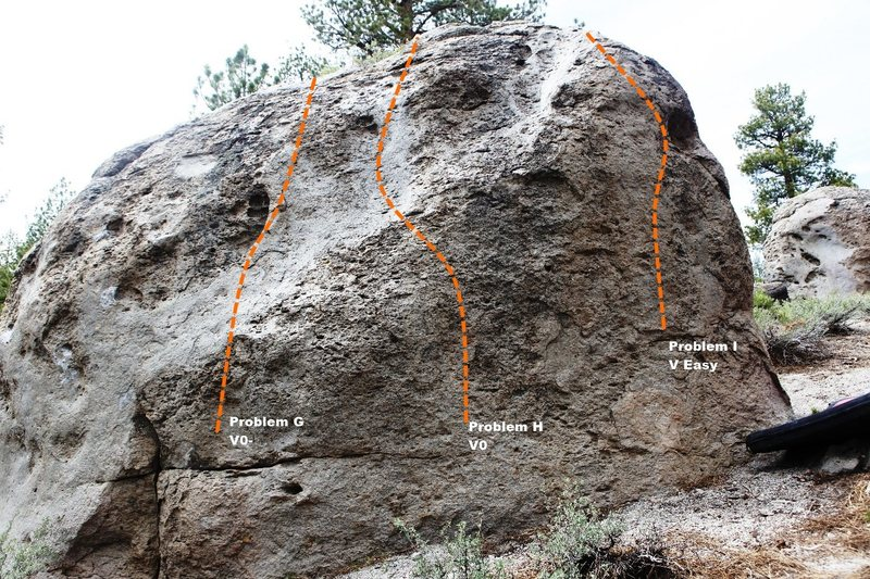 Rock Climbing Photo: Dragon Boulder East Face Topo