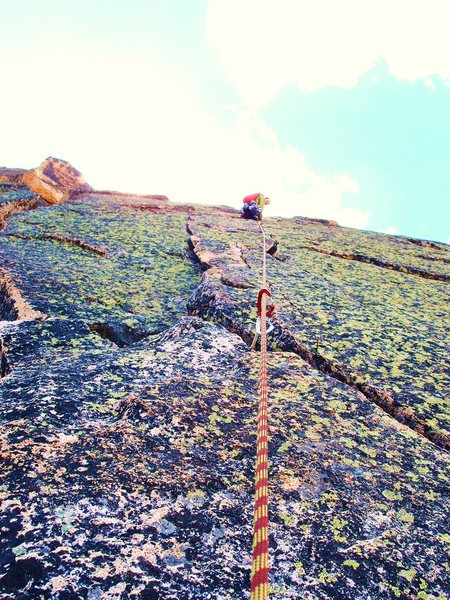 Rock Climbing Photo: Courtney W. Pace making his way up the double crac...
