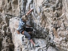 Rock Climbing Photo: The first hard move on a problem in the skull cave...