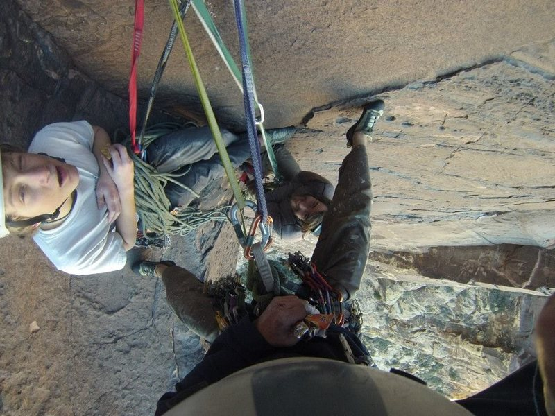 The last hanging belay on the Night Crawler